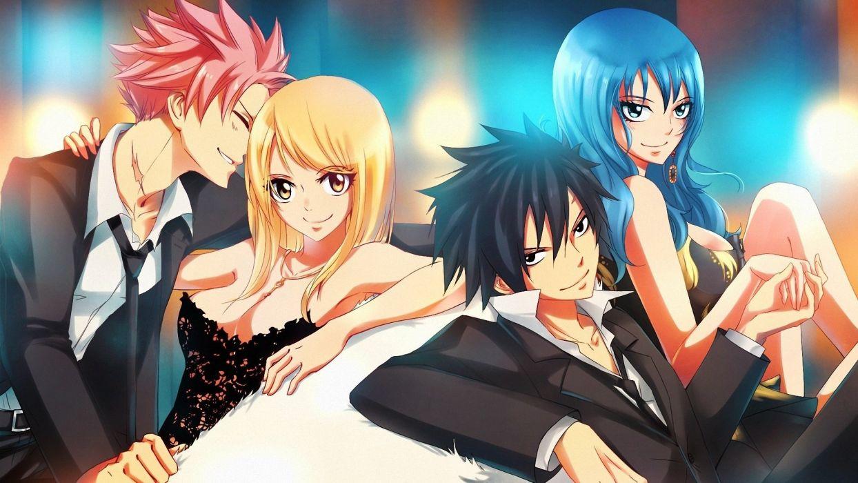 anime series girls boys couple lufi fairy tails wallpaper