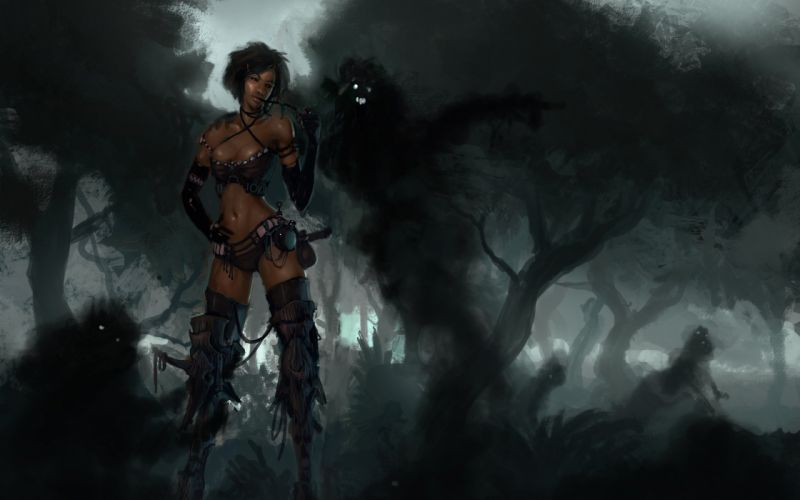 art dark spirit shade forest fog girl wallpaper