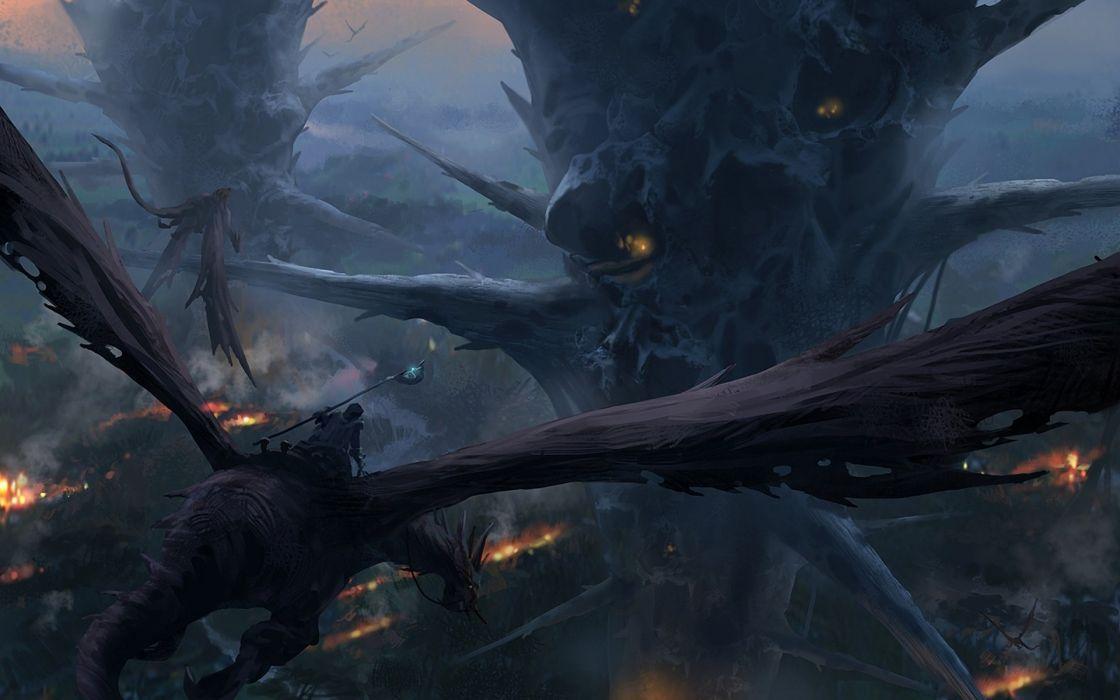 city rider fantasy art flight height dragon wallpaper