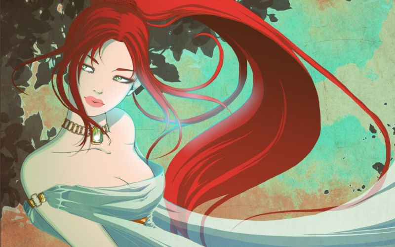 girl face red hair art view decoration wallpaper