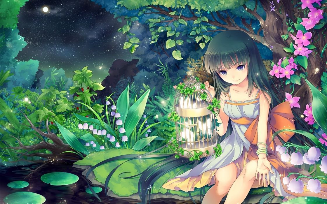 pond girl gejang water wood art night forest square wallpaper