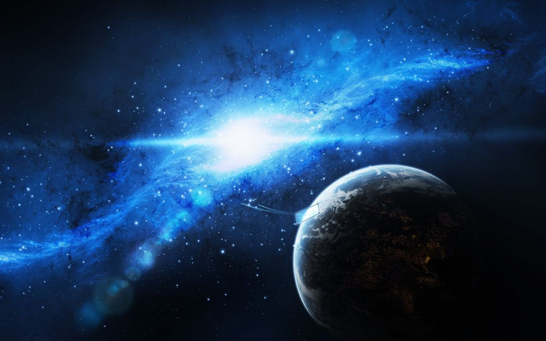 planet earth spaceship sky galaxy art stars wallpaper