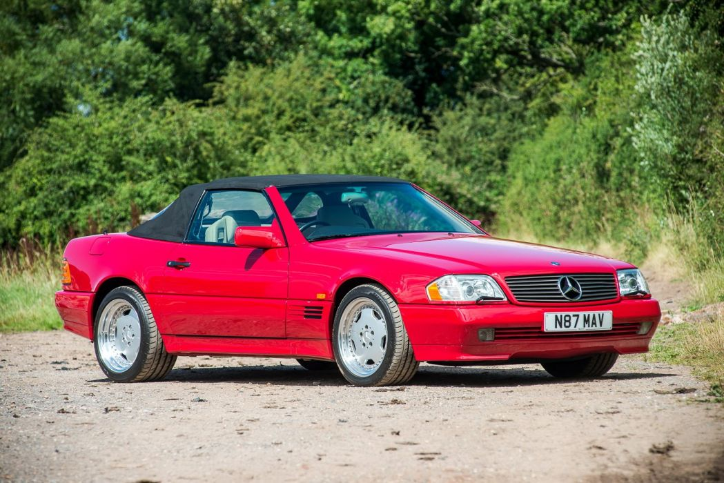 Mercedes Benz SL-60 AMG UK-spec convertible red 1993 wallpaper