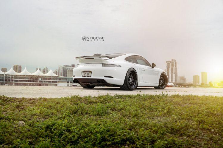 Strasse Wheels Porsche 991 Carrera cars white wallpaper