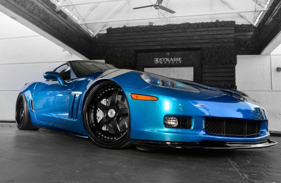 Strasse Wheels Corvette Gransport (c6) cars blue wallpaper