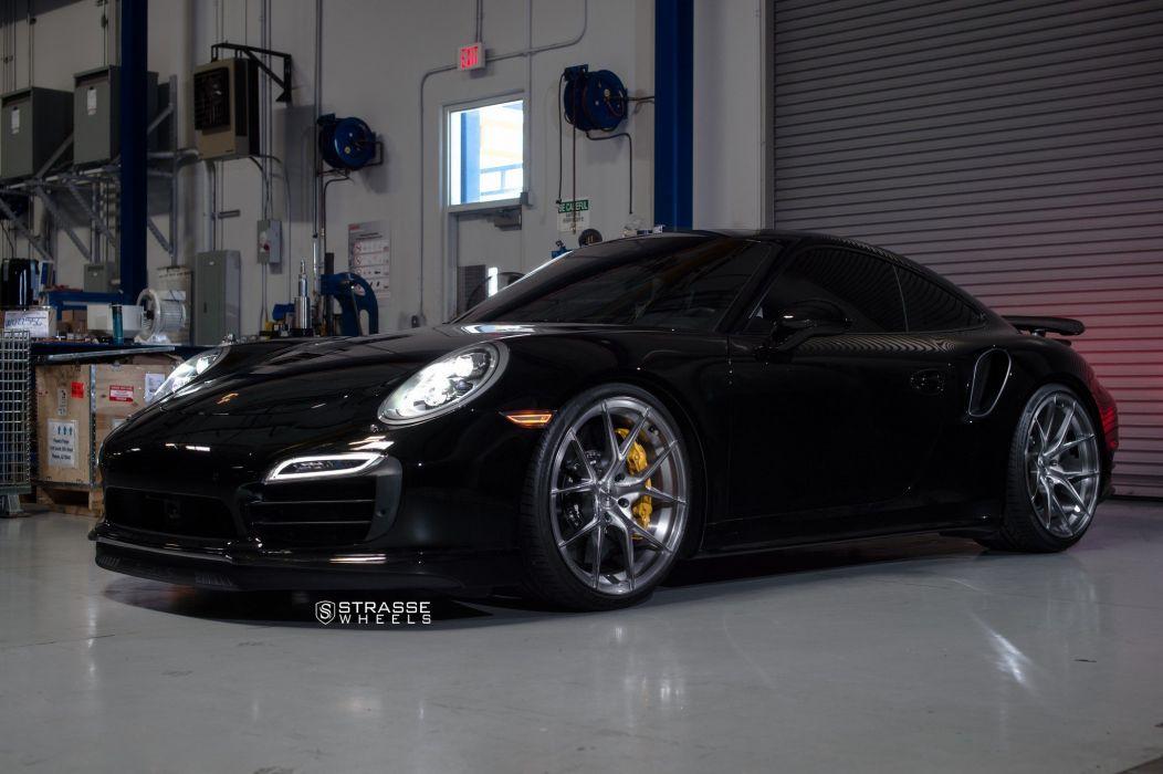 Strasse Wheels Porsche 991 Turbo S cars black wallpaper