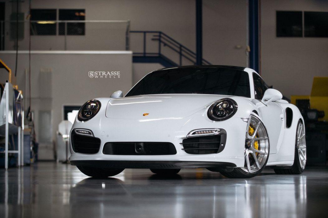 Strasse Wheels Porsche 991 Turbo S cars white wallpaper