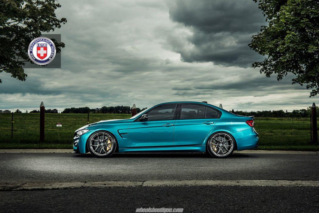 BMW M3 F80 Atlantis Blue metallic cars HRE wheels wallpaper
