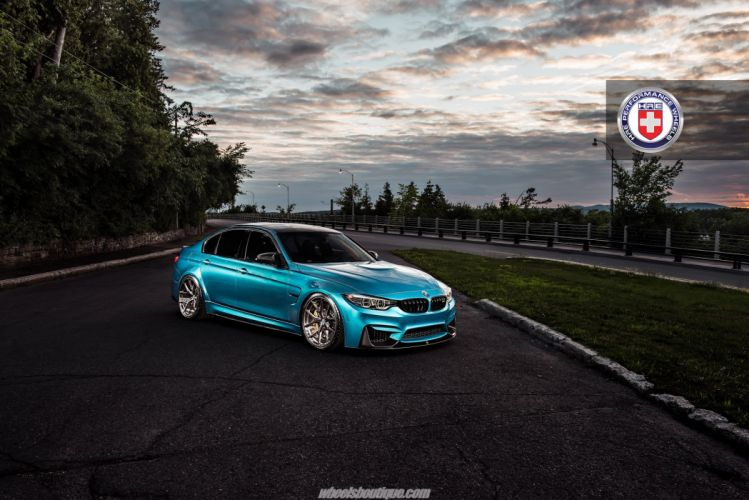 BMW M3 F80 Atlantis Blue metallic cars HRE wheels wallpaper