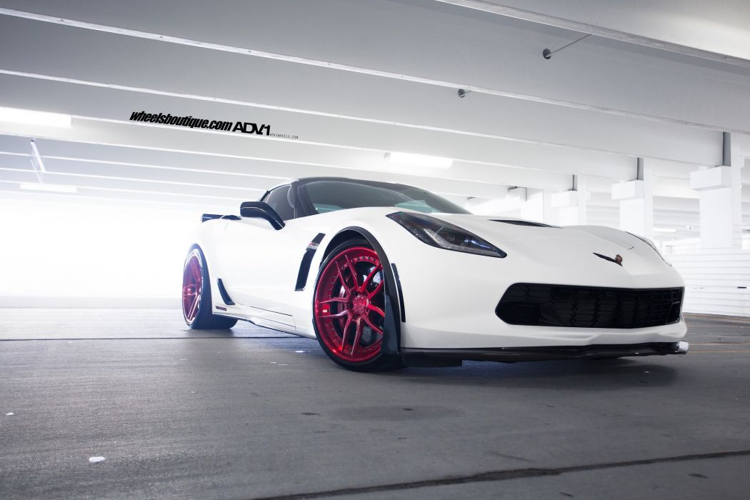 Chevy Corvette (C7) white cars Z07 adv1 wheels  wallpaper