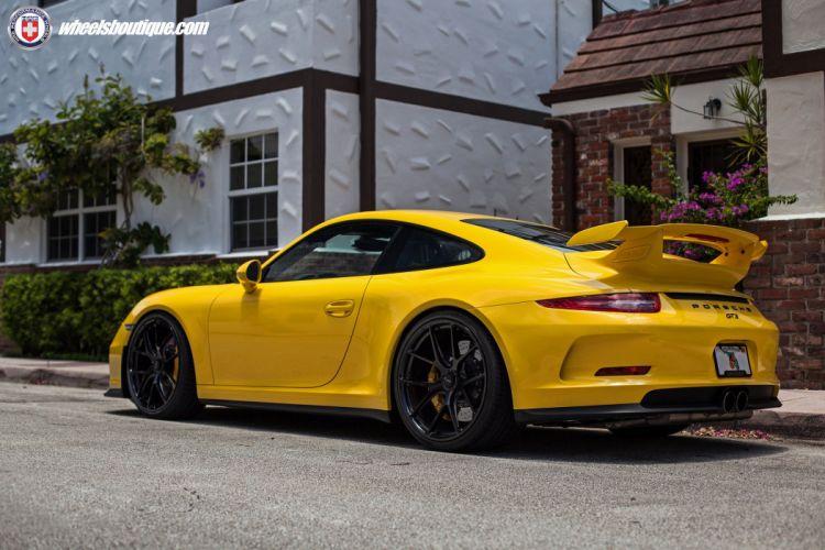 Porsche 991 GT3 cars yellow HRE wheels wallpaper