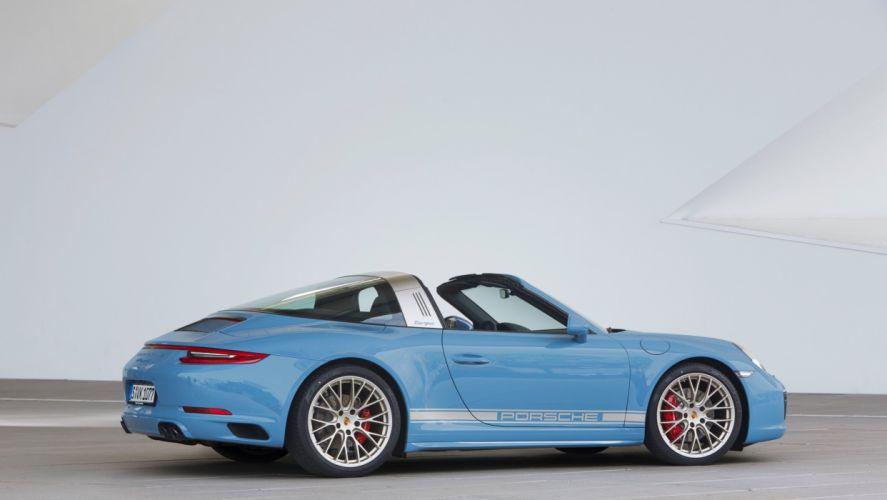 cars blue Porsche 911 Targa 4S Exclusive Design Edition (991) 2016 wallpaper