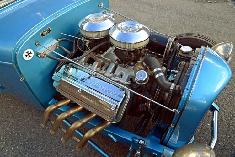 1932 Ford Five-Window Coupe hot rod blue wallpaper