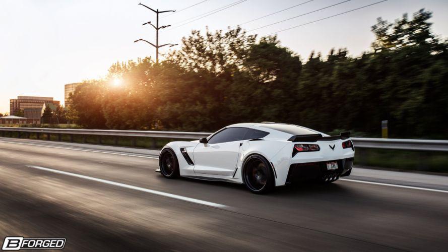 (C7) chevy cars white Z06 Corvette B-Forged wallpaper