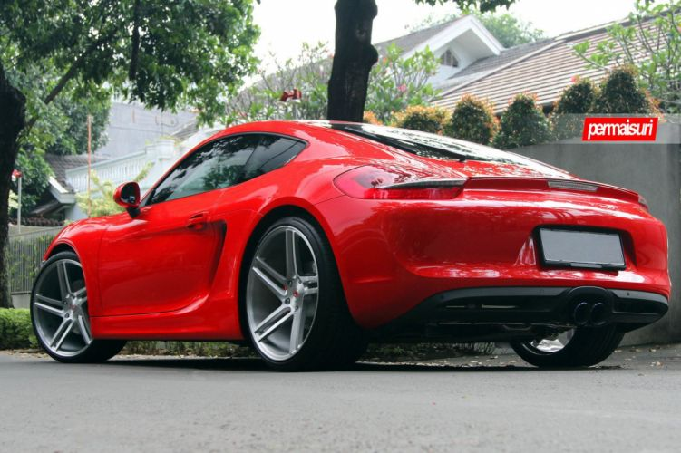 red Porshce Boxster Vossen wheels cars wallpaper