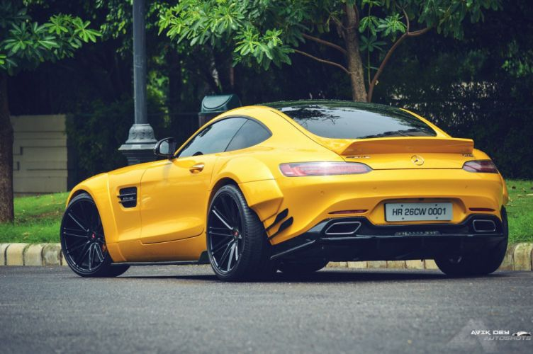 yellow Mercedes AMG GTS Vossen wheels cars wallpaper