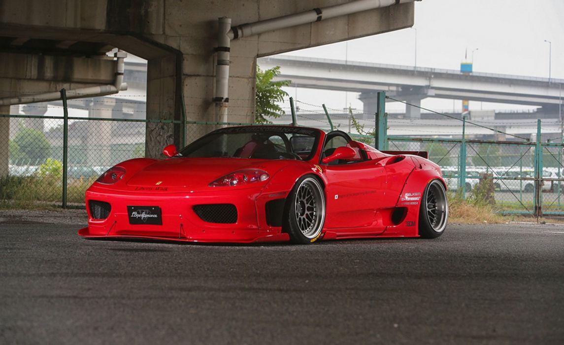 Liberty Walk Modified Wide Body Kit Ferrari F360 Convertible Cars Red Wallpaper 1600x978 1007489 Wallpaperup