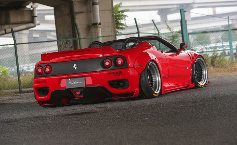 Liberty Walk modified Wide Body kit Ferrari F360 convertible cars red wallpaper