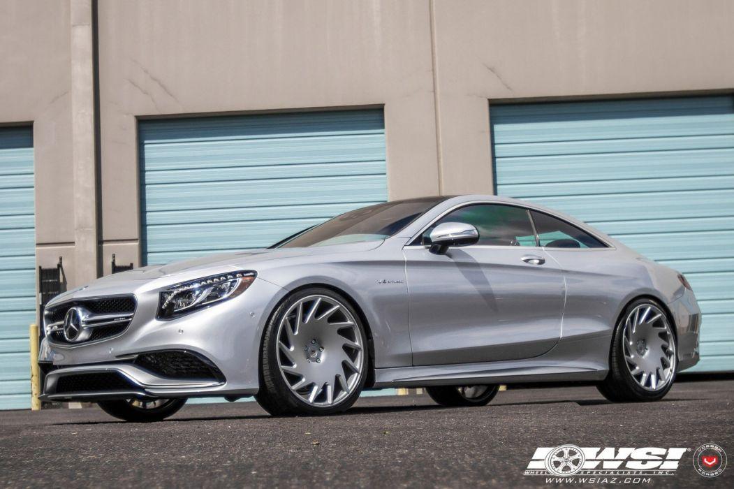 Mercedes Benz S63 Vossen Wheels cars coupe silver wallpaper