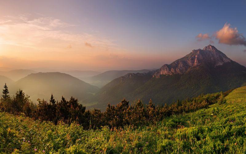 mountains clouds forest grass 2560x1600 wallpaper