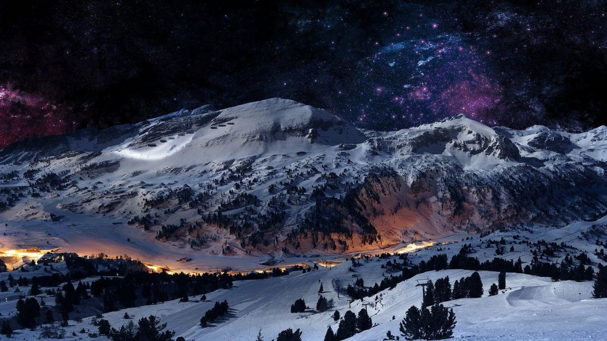 Nature Snow Winter Landscape Mountains Stars Night Lights