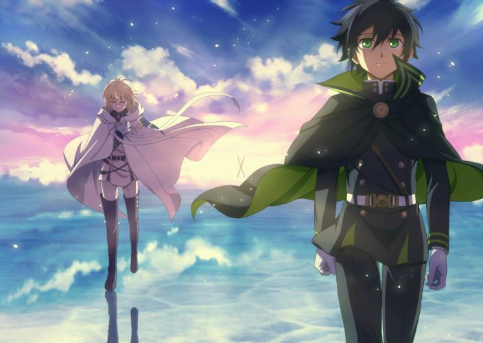 Owari no Seraph Series anime Character sky clouds couple wallpaper