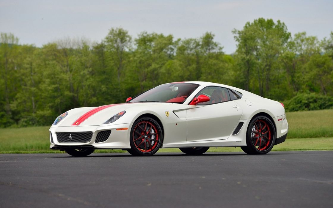 2011 cars Ferrari 599 GTO Pearl White wallpaper