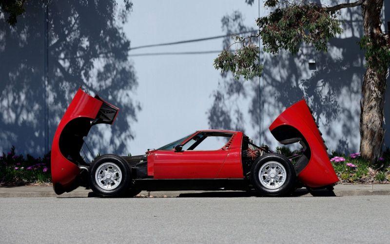 1968 cars red Lamborghini Miura P400 wallpaper
