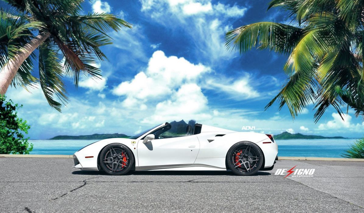 white Ferrari 488 spider cars 2016 wallpaper