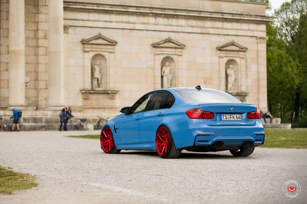 bmw M3 f80 sedan blue cars Vossen Wheels  wallpaper