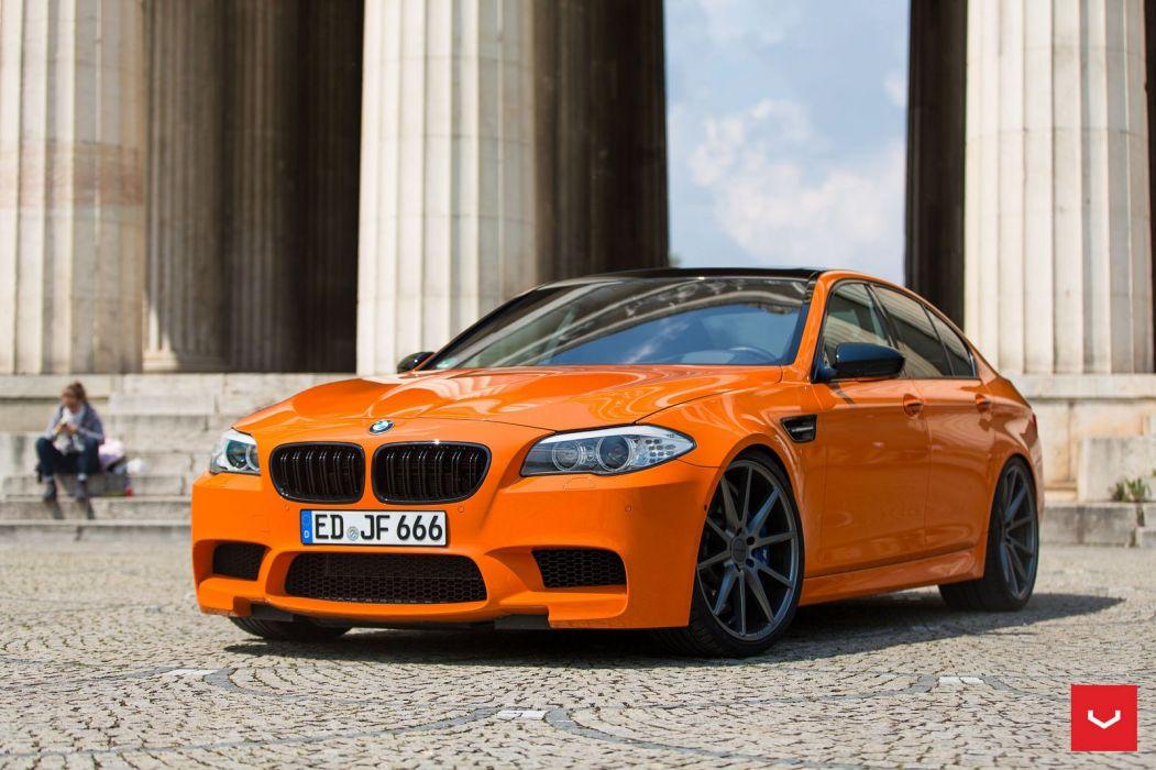 bmw M5 f10 sedan orange cars Vossen Wheels  wallpaper