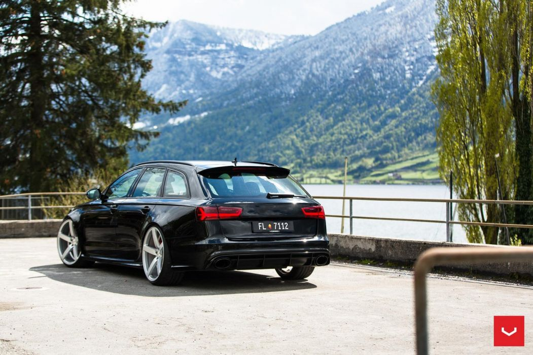 Audi RS6 Avant black cars Vossen Wheels  wallpaper