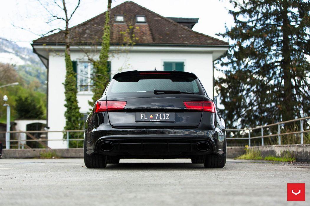 Audi RS6 Avant black cars Vossen Wheels  wallpaper