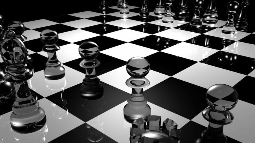 3D Abstracto ajedrez figuras wallpaper