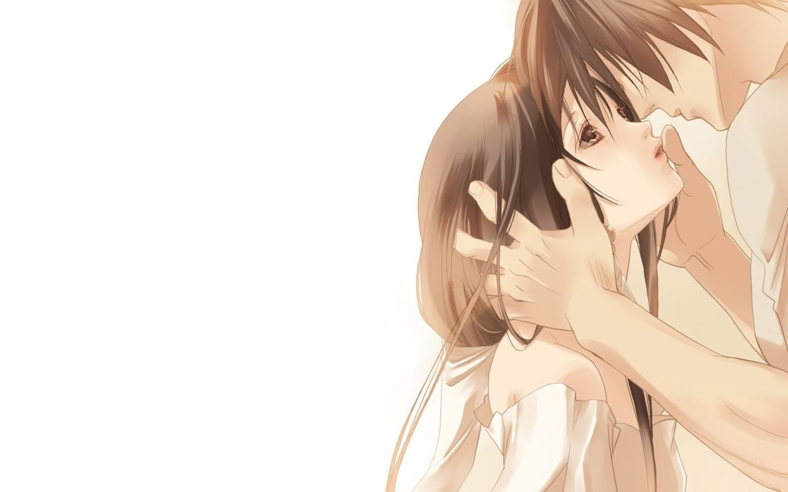 couple boy girl anime love feelings art wallpaper