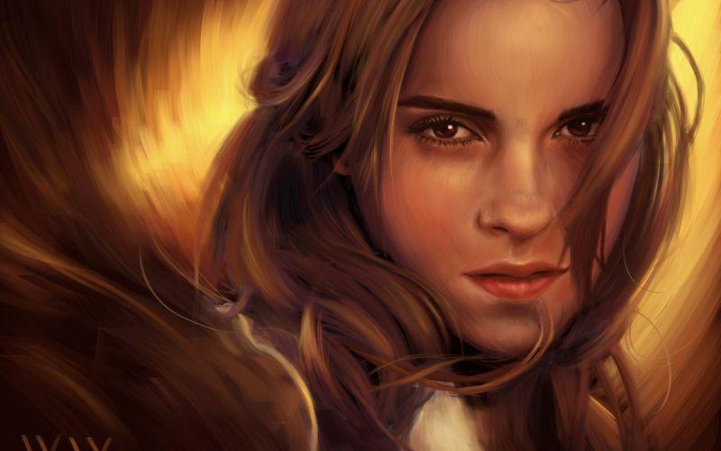 art girl face emma watson painting wallpaper