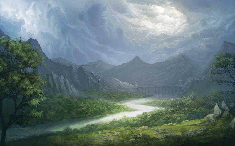 art landscape sky bruce mashbat valley mountains bridge river wallpaper
