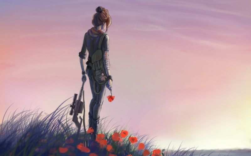 automatic red art girl meadow flowers weapons wallpaper