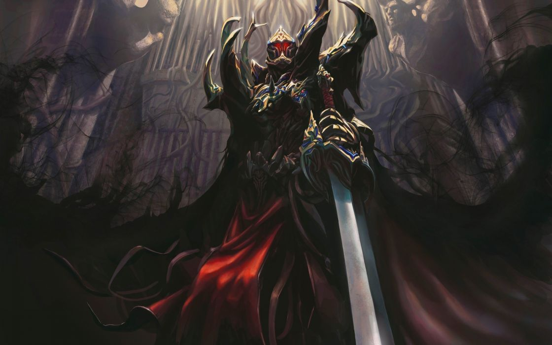 Castle a demon sword armor darkness warrior art wallpaper