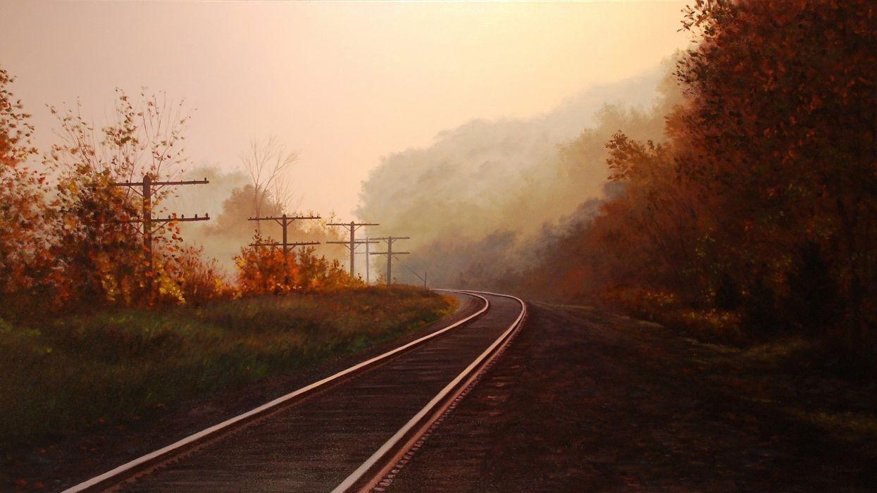 art painting landscape brian slawson autumn rails wallpaper
