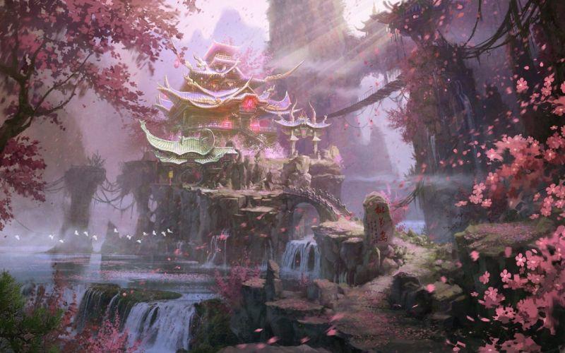 fantasy art waterfalls flowering rocks landscape spring trees wallpaper
