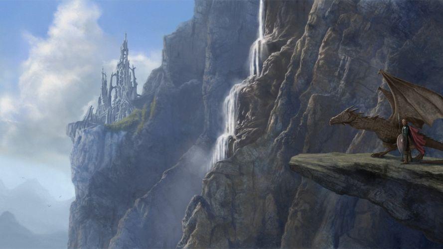 fantasy dragon people rock art castle mountain cliff wallpaper
