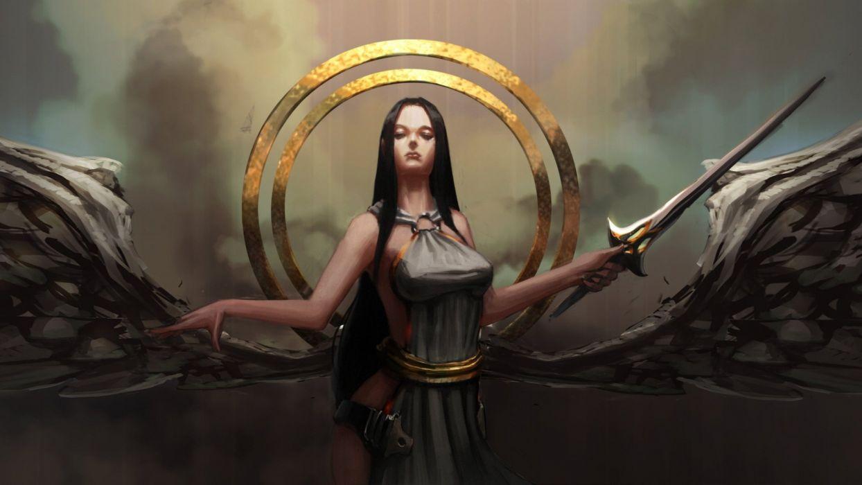 girl sword wings blade circle angel art weapons wallpaper