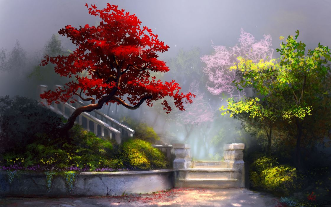 fantasy ladder painting art nature trees flowers wallpaper