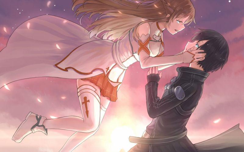sword art online yuuki asuna anime couple wallpaper