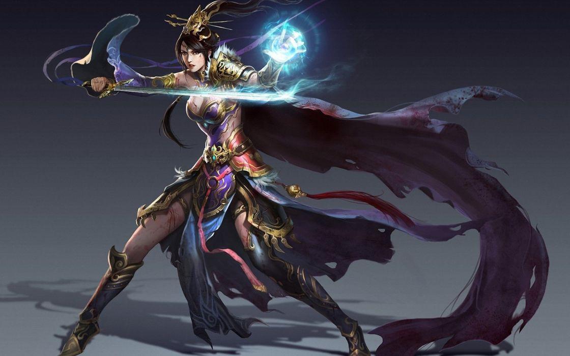 magic fantasy fun art sword magician girl cape wallpaper
