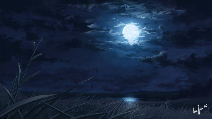 reeds art moon lake night original wallpaper