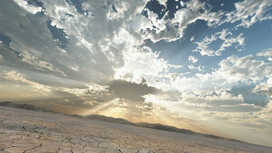 wilderness clouds landscape art sunlight wallpaper