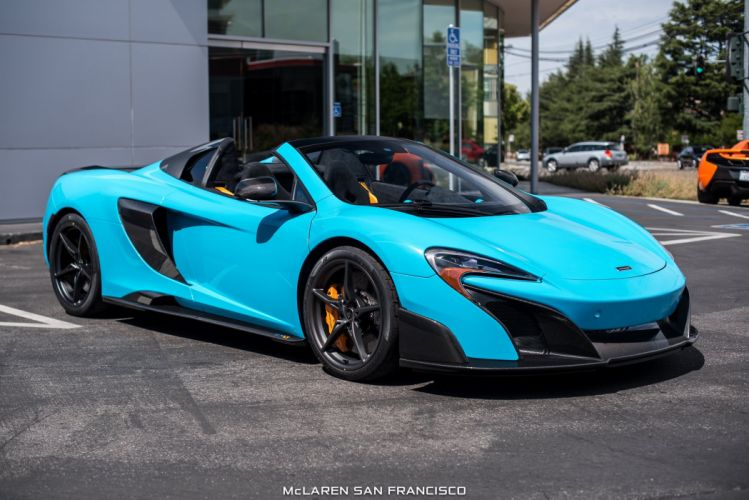 McLaren Fistral Blue 675LT Spider cars 2016 wallpaper