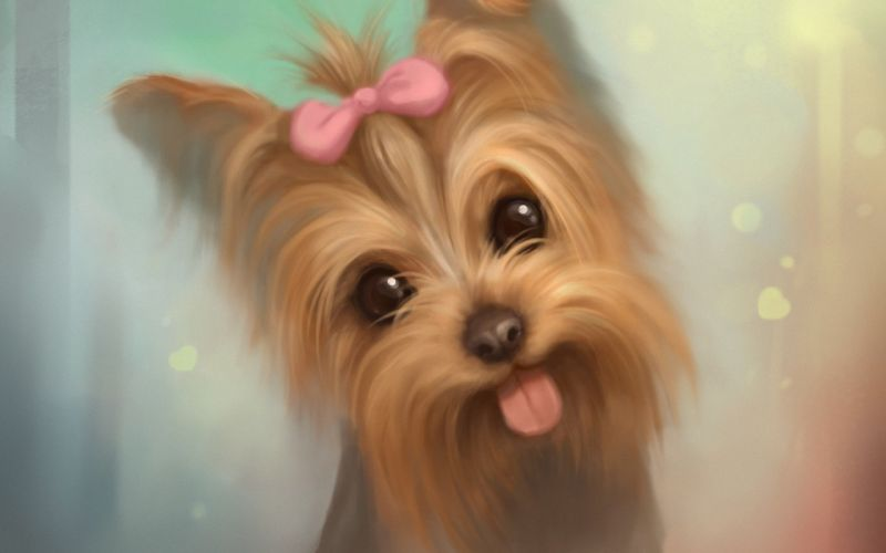 art bow puppy dog tongue wallpaper